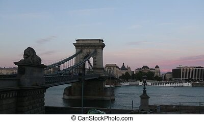 Danube and Chain Bridge in the evening at Budapest, Hungary