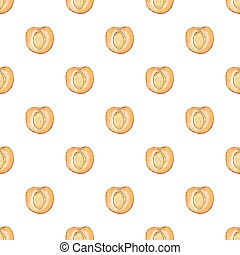 Apricot. Seamless pattern with fruits. Hand-drawn...