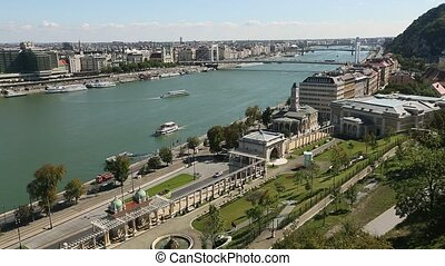 Panoramic view exists of Danube river Budapest cityscape,...