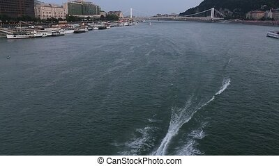 Danube river, view from Budapest Chain Bridge.