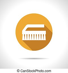 Cleaning brush - Vector flat cleaning brush icon on color...