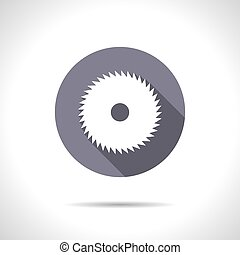 Circular Saw - Vector flat circular saw icon on color circle...