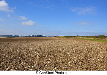 chalky plowed soil - a vast chalky field newly plowed in...