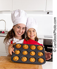 happy mother with daughter wearing apron and cook hat presenting muffin set baking together at home kitchen