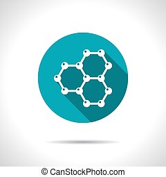 Graphene icon - Vector flat graphene icon on color circle...