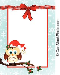 Cute Owl Christmas Greeting Card - Scalable vectorial image...