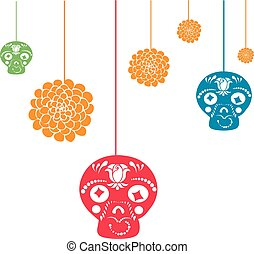 Hanging halloween decorations - It is a vector illustration...