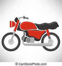 Red Bike Silhouette Isolated on White Background