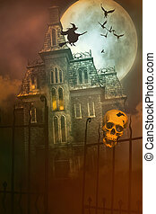 Skulls and Skeletons with creepy house in background
