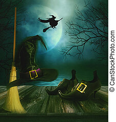 Witches broom hat and shoes with Halloween background -...