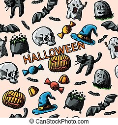 HALLOWEEN handdrawn pattern with pumpkin, witch hat, cauldron, skull, cat, grave, candy, ghost, bats. Vector