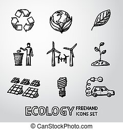 Set of handdrawn ECOLOGY icons - recycle sign, green earth,...