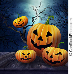 Pumpkins on table with Halloween background