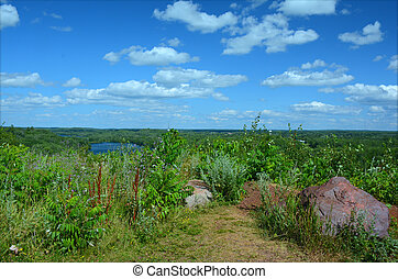 Minnesota Lake Country Landscape - Summer panoramic at...