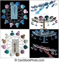 Colorful Carousel Vector 40eps - Colorful Carousel Vector