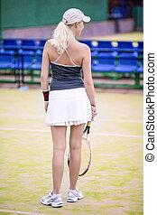 ラケット, 法廷, テニス, 背中, プレーヤー, 女性, 屋外で, コーカサス人, 光景