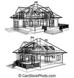 Family House Pespective Vecto...