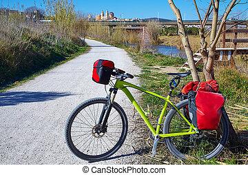 cycling tourism bike in ribarroja Parc de Turia - cycling...