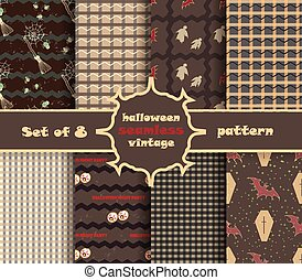 Set vintage seamless pattern for Halloween party. Vector...