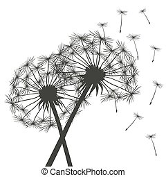 Black dandelions - Romantic Illustration. Vector Elements.