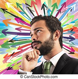 Undecided businessman - Businessman thinks with background...