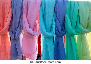 Scarf foulards in a row outdoor