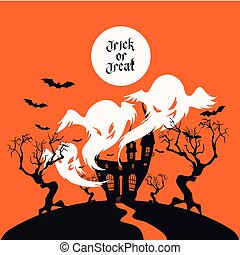 Spooky House Trick Or Treat card design - Card background...
