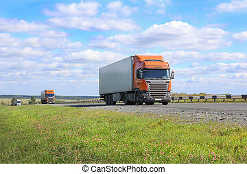 trucks goes on the highway