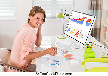 Woman Analyzing Financial Graphs - Young Happy Woman...