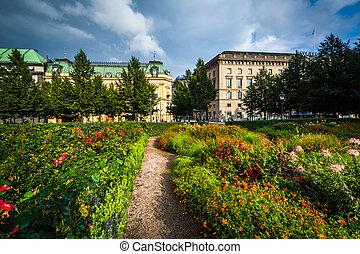Gardens at Kungsträdgården, in Norrmalm, Stockholm, Sweden.