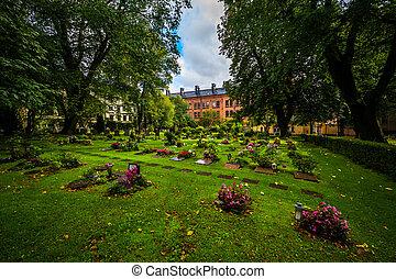 Cemetery outside Katarina kyrka, in Södermalm, Stockholm,...