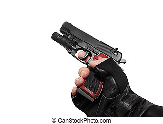 Hand holding a handgun profile vie - Isolated first person...