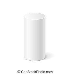 White 3D cylinder - Vector white cylinder isolated on white...