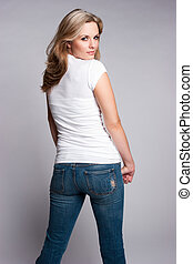 Beautiful Blond Woman - Beautiful blond woman wearing jeans...