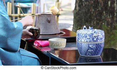 Japanese tea ceremony - KAGAWA, JAPAN - SEPTEMBER 23, 2015:...