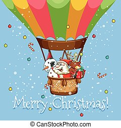 Christmas poster with Santa on balloon
