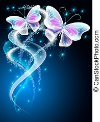 Butterflies with glowing firework - Transparent flying...