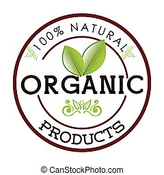 Organic natural food label design, vector illustration eps...