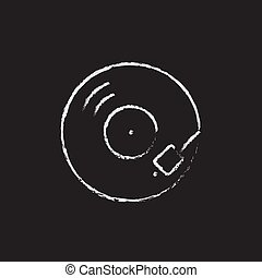Turntable icon drawn in chalk. - Turntable hand drawn in...