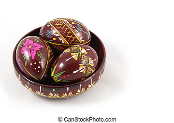 Three Easter Paited Eggs on the Plate