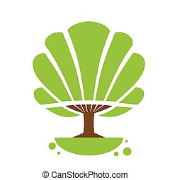 Tree Logo Icon with Green Leaves Flat