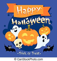 Happy Halloween Banner Invitation Card Ghost Pumpkin Face...