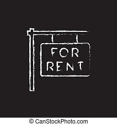 For rent placard icon drawn in chalk.