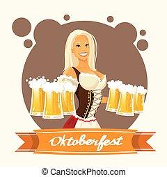 Oktoberfest Festival Girl Hold Beer Mug Glasses Flat Vector...