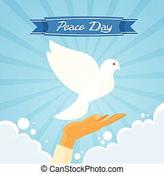 Dove Peace Day Hand Open Palm Over Clouds Blue Sky Flat