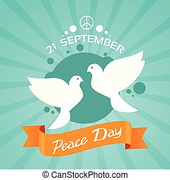 Two Dove Peace Day Holiday Poster Flat Vector Illustration