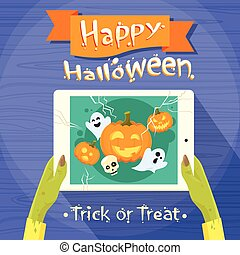 Zombie Hand Hold Tablet Computer Flat Vector Illustration