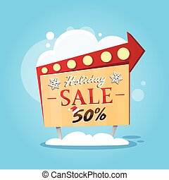 Christmas Sale Promotional Sign Board Flat Vector...