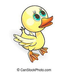 Duckling - Cartoon small yellow duck on a white background...