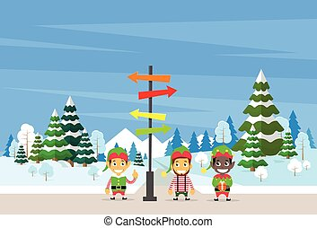 Winter Forest Landscape Sign Direction Way Signboard Arrow...
